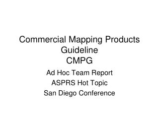 Commercial Mapping Products Guideline CMPG