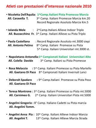 Atleti con prestazioni d'interesse nazionale 2010  Nicoletta Dell'Aquila:   1^Camp.Italiani Pista Promesse Marcia