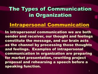 The Types of Communication  in Organization