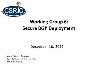 Working Group 6:  Secure BGP Deployment