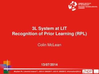 3L System at LIT Recognition of Prior Learning (RPL)