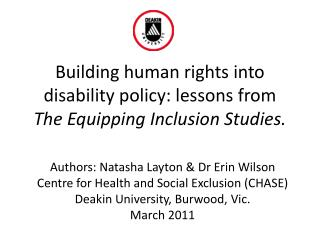 Building human rights into disability policy: lessons from  The Equipping Inclusion Studies.