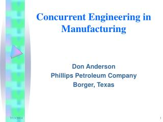 Concurrent Engineering in Manufacturing