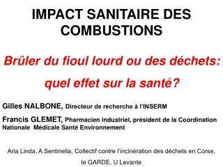 IMPACT SANITAIRE DES COMBUSTIONS