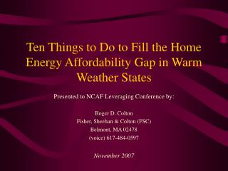 Ten Things to Do to Fill the Home Energy Affordability Gap in Warm Weather States