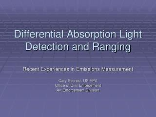 Differential Absorption Light Detection and Ranging