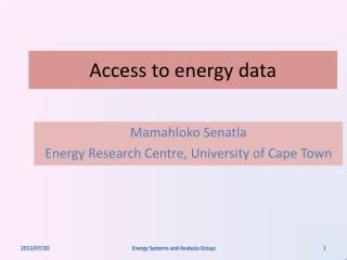 Access to energy data