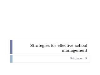 Strategies for effective school management