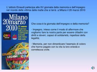 L' istituto Einaudi partecipa alla XV giornata della memoria e dell'impegno nel ricordo delle vittime delle mafie che s
