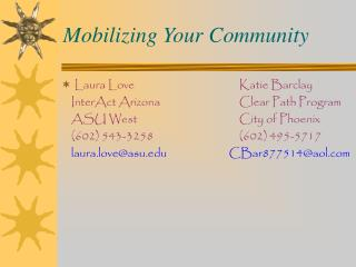 Mobilizing Your Community