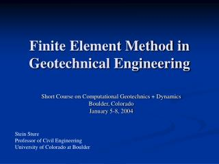 Finite Element Method in Geotechnical Engineering