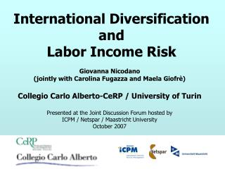 International Diversification  and  Labor Income Risk