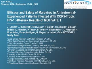 Efficacy and Safety of Maraviroc in Antiretroviral-Experienced Patients Infected With CCR5-Tropic HIV-1: 48-Week Result