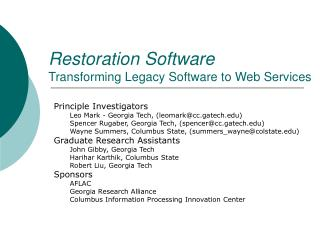Restoration Software Transforming Legacy Software to Web Services