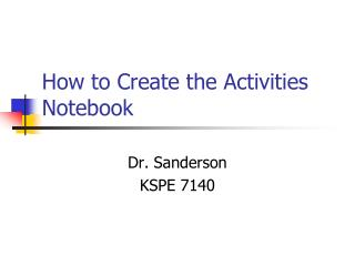 How to Create the Activities Notebook