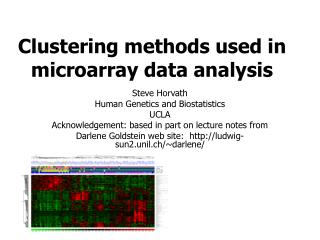 Clustering methods used in microarray data analysis