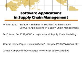Software Applications  in Supply Chain Management