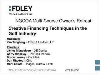 Creative Financing Techniques in the Golf Industry