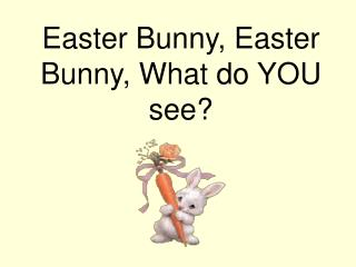 Easter Bunny, Easter Bunny, What do YOU see?