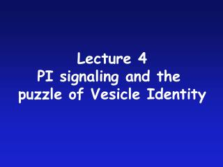 Lecture 4 PI signaling and the  puzzle of Vesicle Identity
