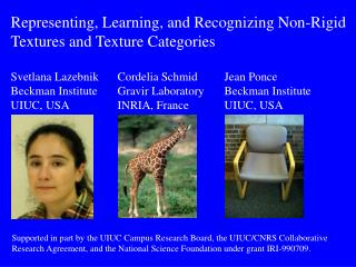 Representing, Learning, and Recognizing Non-Rigid  Textures and Texture Categories Svetlana Lazebnik	Cordelia Schmid	Je