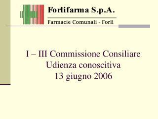 I – III Commissione Consiliare Udienza conoscitiva 13 giugno 2006