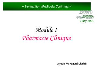 Module I Pharmacie Clinique
