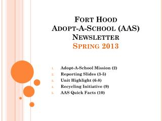 Fort Hood  Adopt-A-School (AAS)  Newsletter Spring 2013
