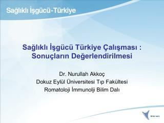 Sağlıklı İşgücü Türkiye Çalışması : Sonuçların Değerlendirilmesi