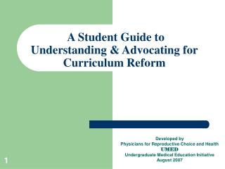 A Student Guide to  Understanding & Advocating for Curriculum Reform