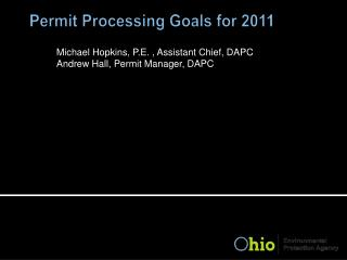 Permit Processing Goals for 2011
