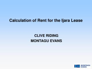 Calculation of Rent for the Ijara Lease