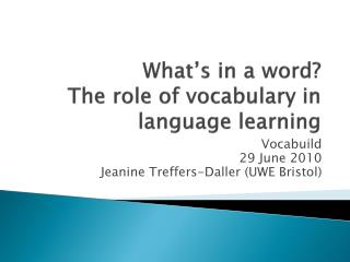 What's in a word? The role of vocabulary in language learning