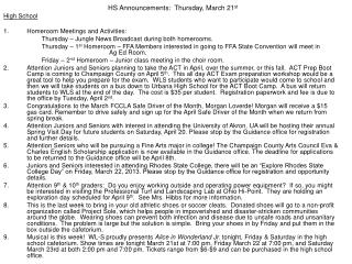 HS Announcements:  Thursday, March 21 st