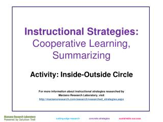 Instructional Strategies:  Cooperative Learning, Summarizing