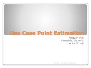 Use Case Point Estimation