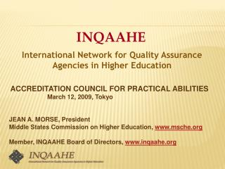 INQAAHE International Network for Quality Assurance Agencies in ...