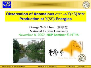 Observation of Anomalous  e + e -   ( nS ) h + h - Production at   ( 5S ) Energies