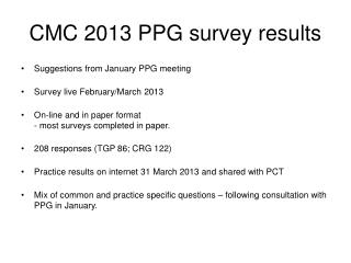 CMC 2013 PPG survey results