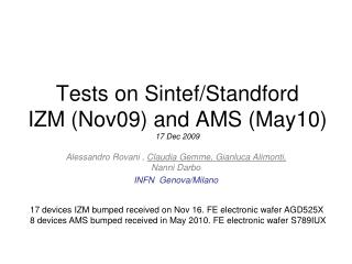 Tests on Sintef/Standford IZM (Nov09) and AMS (May10) 17 Dec 2009