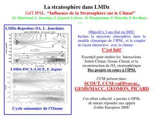 """La stratosphère dans LMDz GdT IPSL:  """"Influence de la Stratosphère sur le Climat"""""""