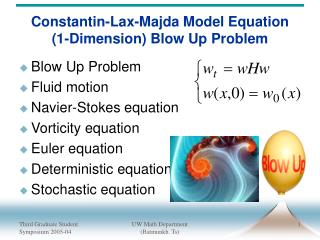 Constantin-Lax-Majda Model Equation (1-Dimension) Blow Up Problem