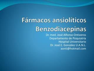 Fármacos ansiolíticos Benzodiacepinas