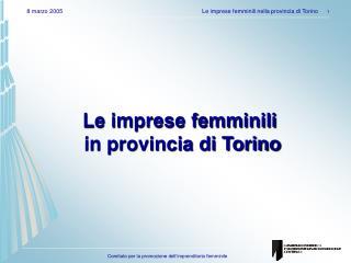 Le imprese femminili  in provincia di Torino