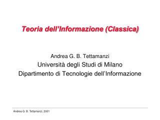 Teoria dell�Informazione (Classica)