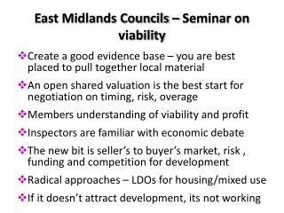 East Midlands Councils – Seminar on viability