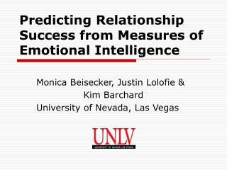 Predicting Relationship Success from Measures of  Emotional Intelligence