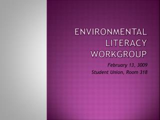 Environmental Literacy Workgroup