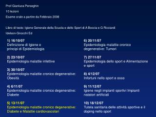 Prof Gianluca Perseghin 10 lezioni Esame orale a partire da Febbraio 2008 Libro di testo: Igiene Generale della Scuola