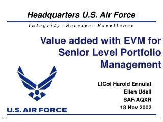Value added with EVM for Senior Level Portfolio Management